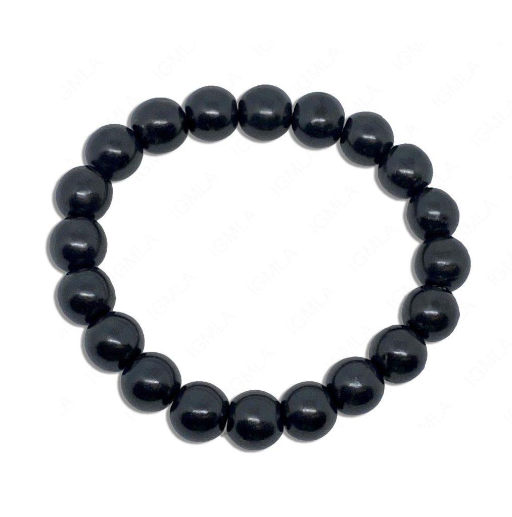 10mm Shungite Round Beads Bracelet