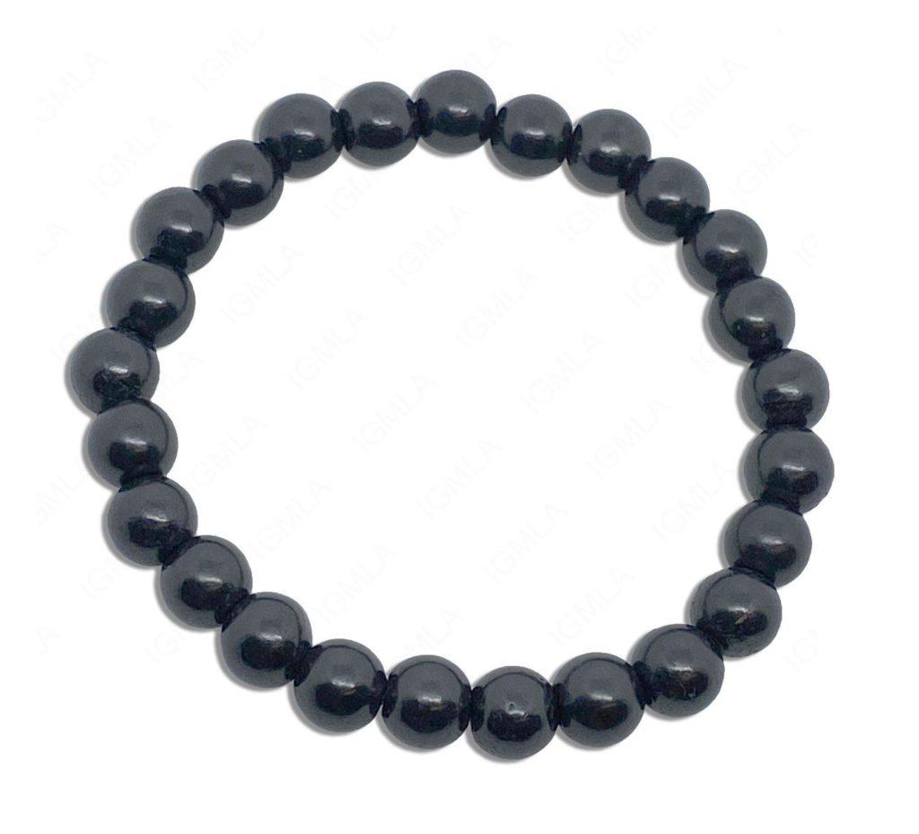 8mm Shungite Round Beads Bracelet