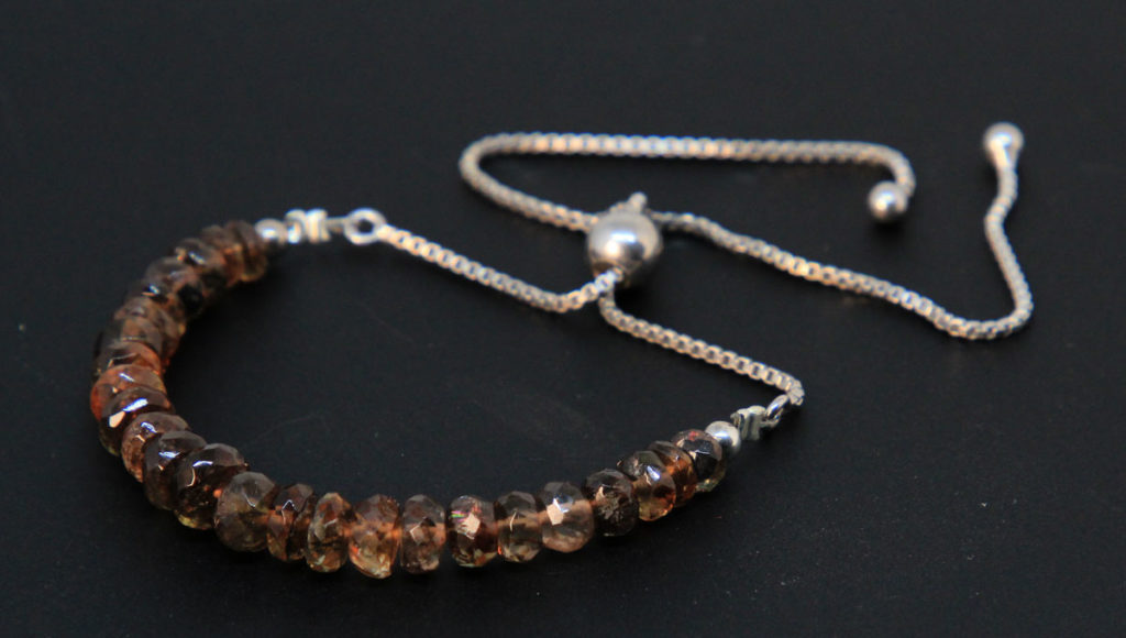 Faceted Andalusite, Sterling Silver Bolo Bracelet