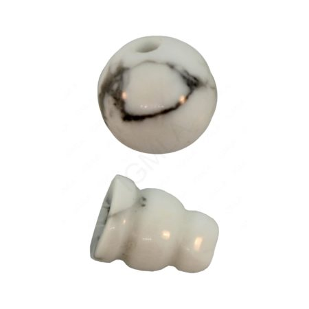 10X8mm & 10mm White Howlite 3 Hole (1) & Guru (1) Beads Beads