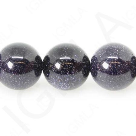 12mm Blue Goldstone Glass Round Beads Beads