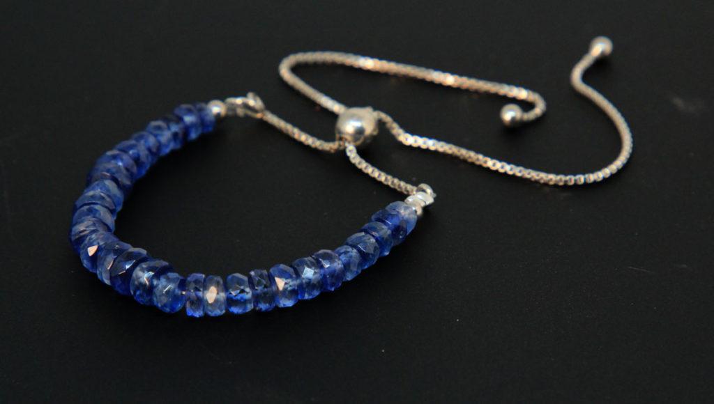 Faceted Blue Kyanite, Sterling Silver Bolo Bracelet