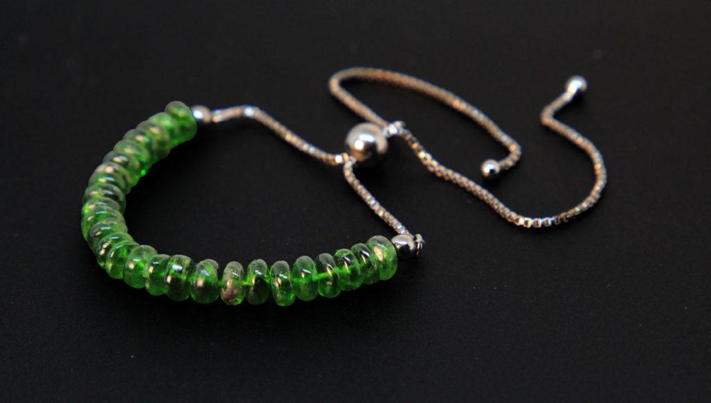 Chrome Diopside, Sterling Silver Bolo Bracelet