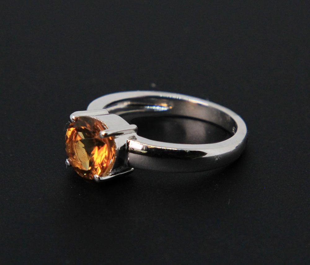 Sterling Silver, Faceted Citrine Ring