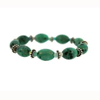 Dyed Green Quartz Glass Melon Bracelets