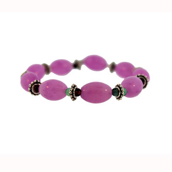 Dyed Purple Quartz Glass Melon Bracelets