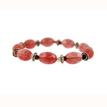 10 X 14mm Cherry Quartz Melon W/Pewter Bds Jewelry