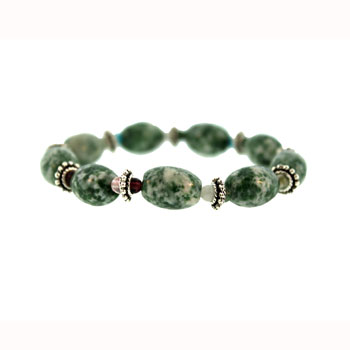 10 X 14mm Green Spot Agate Melon W/Pewter Bds Jewelry