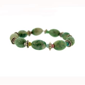 Dyed Green Jasper Melon Bracelets
