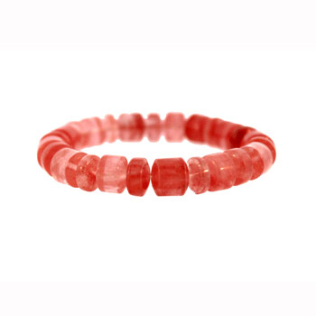Cherry Quartz Glass Drum Bracelets