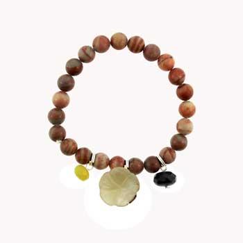 Fossilized Agate Round Bracelets