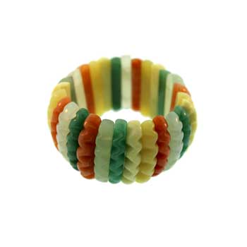 "Multicolor ""A"" Wavy Carved Jewelry"