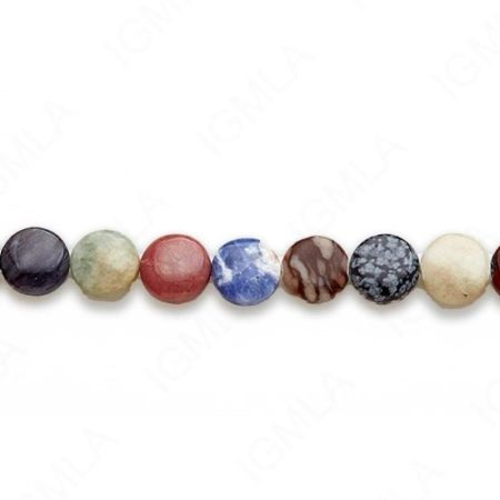15-16″ 12mm Multi Stone Coin Plain Beads
