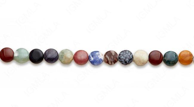 15-16″ 12mm Multi Stone Coin Plain Beads
