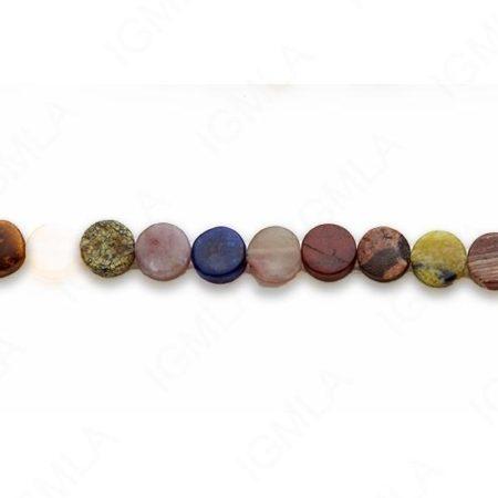 15-16″ 8mm Multi Stone Coin Plain Beads