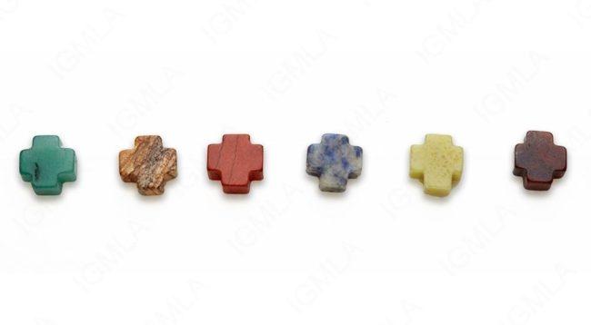 15-16″ 12mm Multi Stone Cross W/Tube Plain Beads
