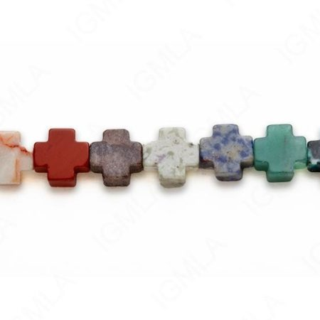 15-16″ 12mm Multi Stone Cross Plain Beads