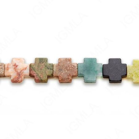 15-16″ 15mm Multi Stone Cross Plain Beads