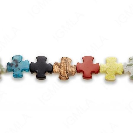 15-16″ 15mm Multi Stone Round Cross Plain Beads