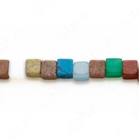 15-16″ 8mm Multi Stone Cube Plain Beads
