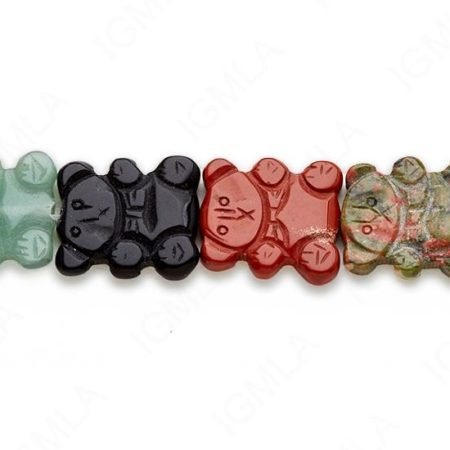 15-16″ 19X22mm Multi Stone Carved Bear Plain Beads