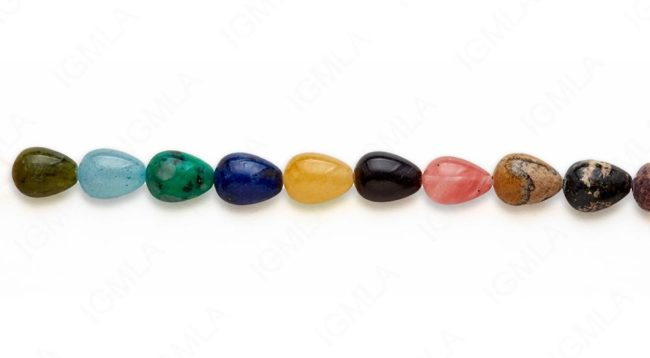 15-16″ 10X13mm Multi Stone Drop Plain Beads