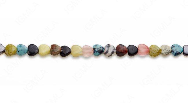 15-16″ 8mm Multi Stone Heart Plain Beads