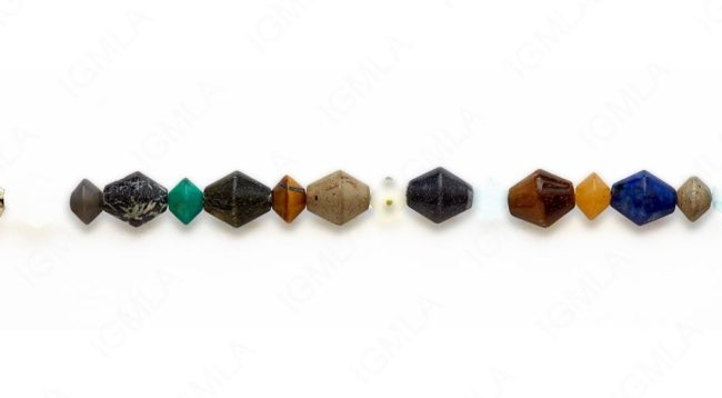 15-16″ 12mm Multi Stone Double Conew/Sm Cone Plain Beads