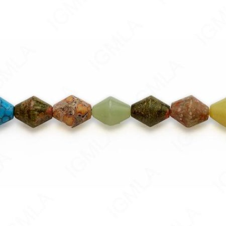 15-16″ 12mm Multi Stone Double Cone Plain Beads