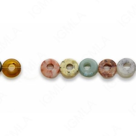 15-16″ 10mm Multi Stone Donut Plain Beads