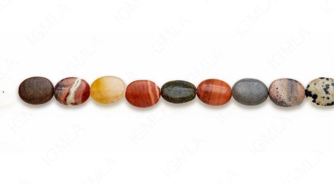 15-16″ 10X13mm Multi Stone Oval Plain Beads