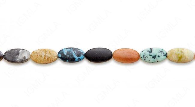 15-16″ 12X22mm Multi Stone Oval Plain Beads