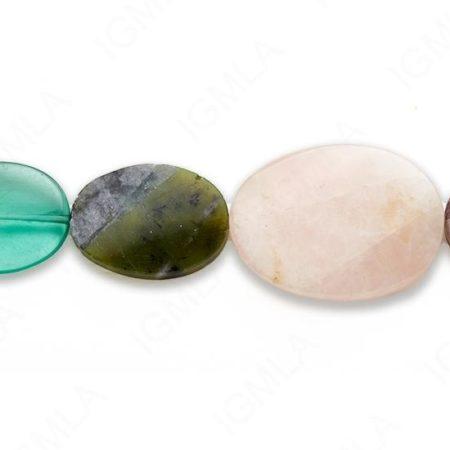 15-16″ 15X20-30X40mm Multi Stone Oval Twist Graduated Plain Beads