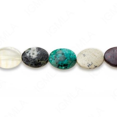 15-16″ 13X18mm Multi Stone Oval Twist Plain Beads
