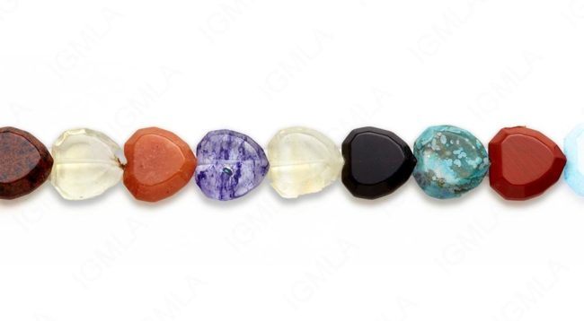 15-16″ 20mm Multi Stone Heart Faceted Beads