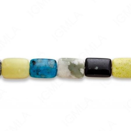 15-16″ 13X18mm Multi Stone Rectangle Plain Beads