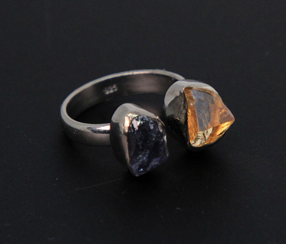 Sterling Silver with Black Rhodium finish, Citrine & Iolite Adjustable Ring