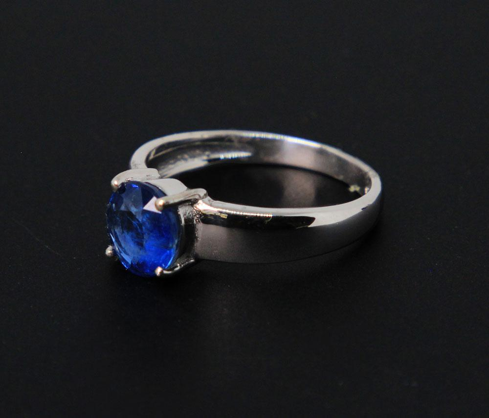 Sterling Silver, Faceted Blue Kyanite Ring