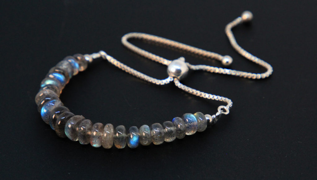 Labradorite, Sterling Silver Bolo Bracelet