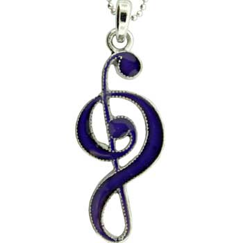Zinc Alloy Musical Note Neck Rhodium Mood Stone Musical Note Pend. W/R/P Chain Jewelry