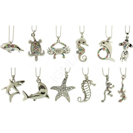 Sea Animals Necklaces Rhodium Jewelry