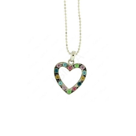 Multicolor Rine Stone Heart Necklace Jewelry