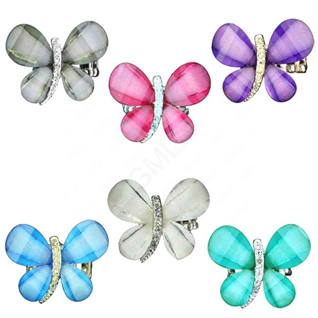 Zinc Alloy Butterfly Finger Rings Rhodium Assorted Colors Stones Jewelry