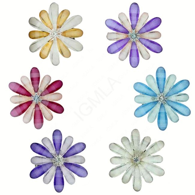 Zinc Alloy Finger Rings Silver Assorted Colors Flower Ring Jewelry