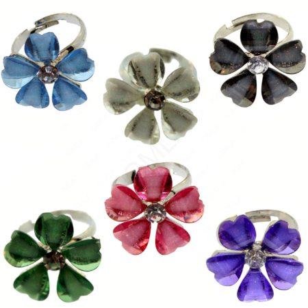 Zinc Alloy Flower Rings