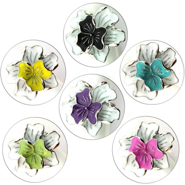 Zinc Alloy Ring Rhodium Assorted Colors Flower Ring Jewelry