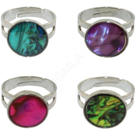 Round Paua Shell Rings Jewelry