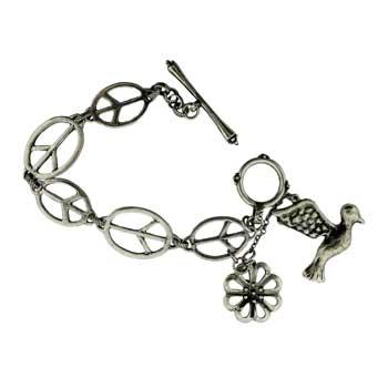 Zinc Alloy Oval Peace Sign Bracelets