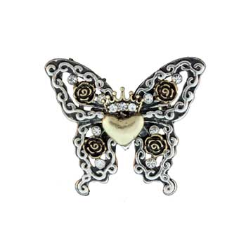 Zinc Alloy Ring Rhodium Butterfly W/Gold Plated Heart Ring Jewelry