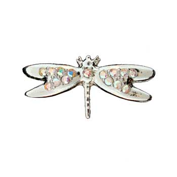 Zinc Alloy Ring Rhodium Flying Butterfly Ring W/Faceted Glass Stones Jewelry